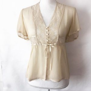 Free People Sheer Ivory Silk & Lace Blouse